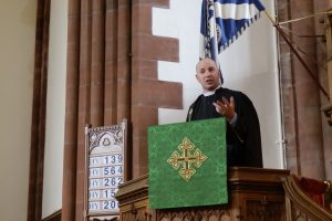 Rev David Prentice-Hyers preaches in Troon Old