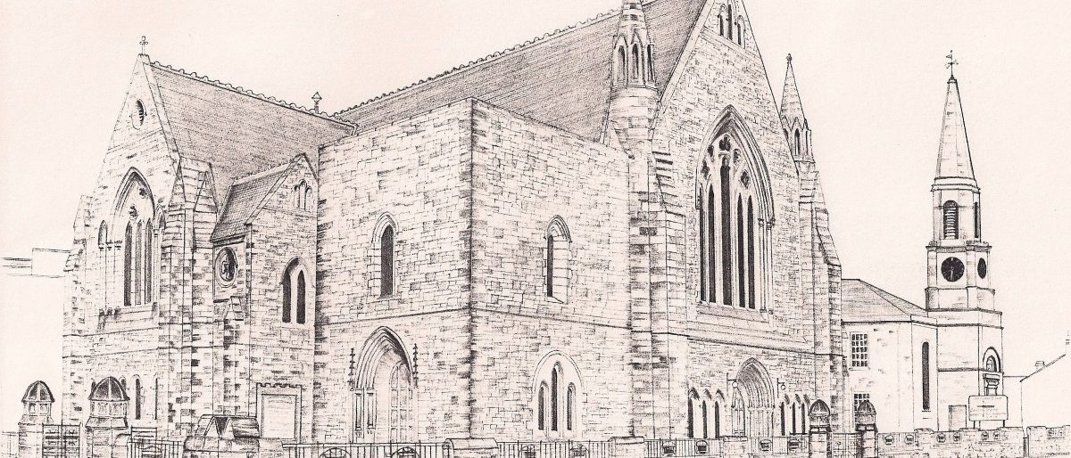 pencil drawing of Troon Old new sanctuary and old sanctuary, now hall