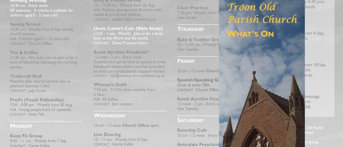 What's On at Troon Old Parish Church