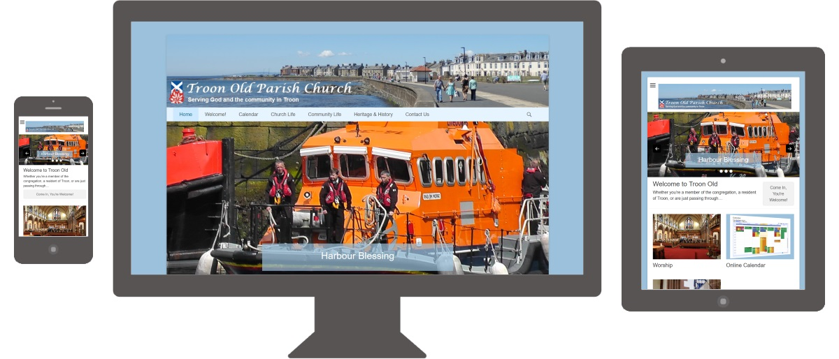 new Troon Old website shown on smartphone, desktop or laptop, and tablet screens