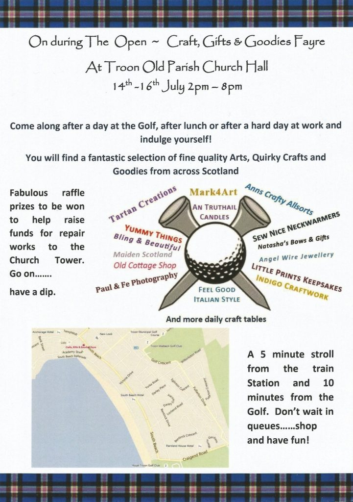 poster for Crafts, Gifts & Goodies Fayre during The 145th Open in Troon, 2016