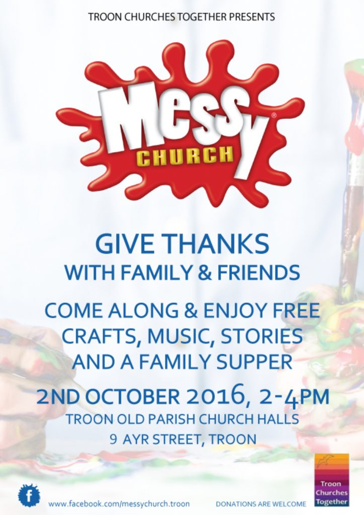 Messy Church Troon, 2 October 2016 poster