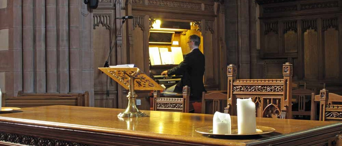 Organist Andrew McConnell playing the organ in Troon Old Parish Church