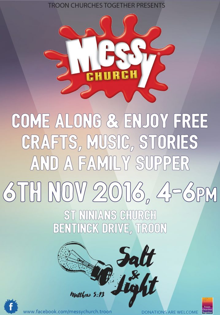 Messy Church Troon, 6 November 2016 poster