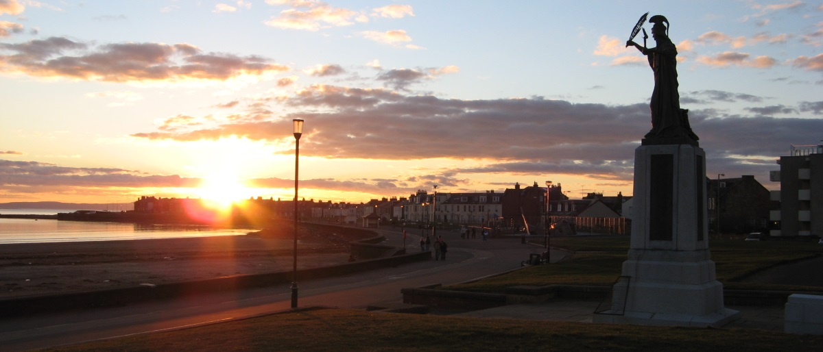 Troon War Memorial at sunset