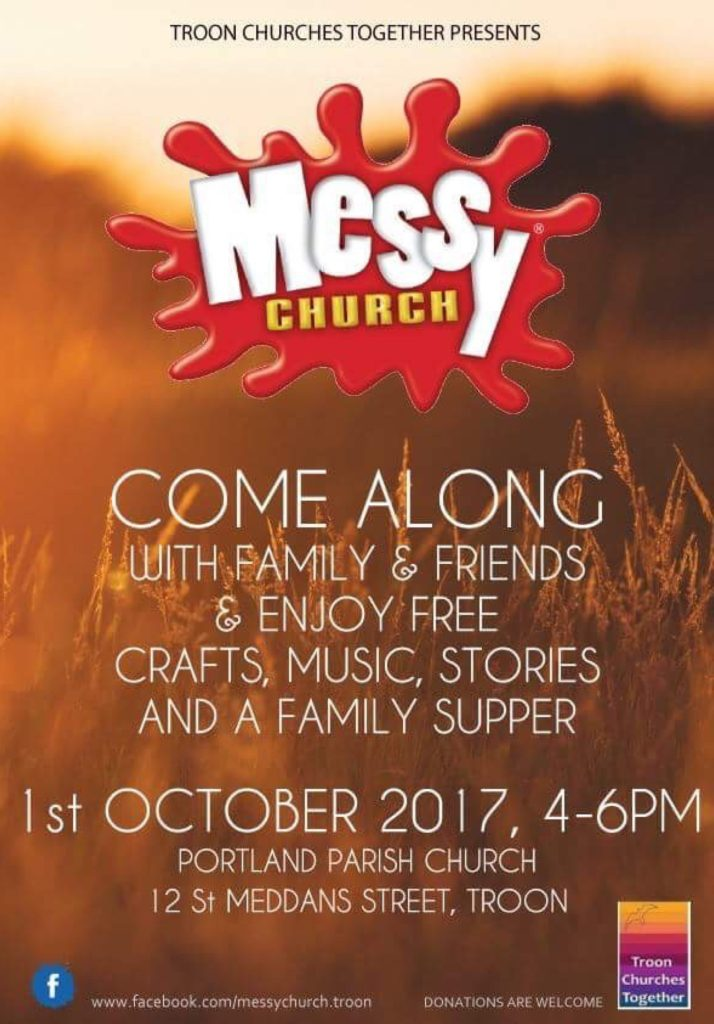 Messy Church, 1 October 2017 poster