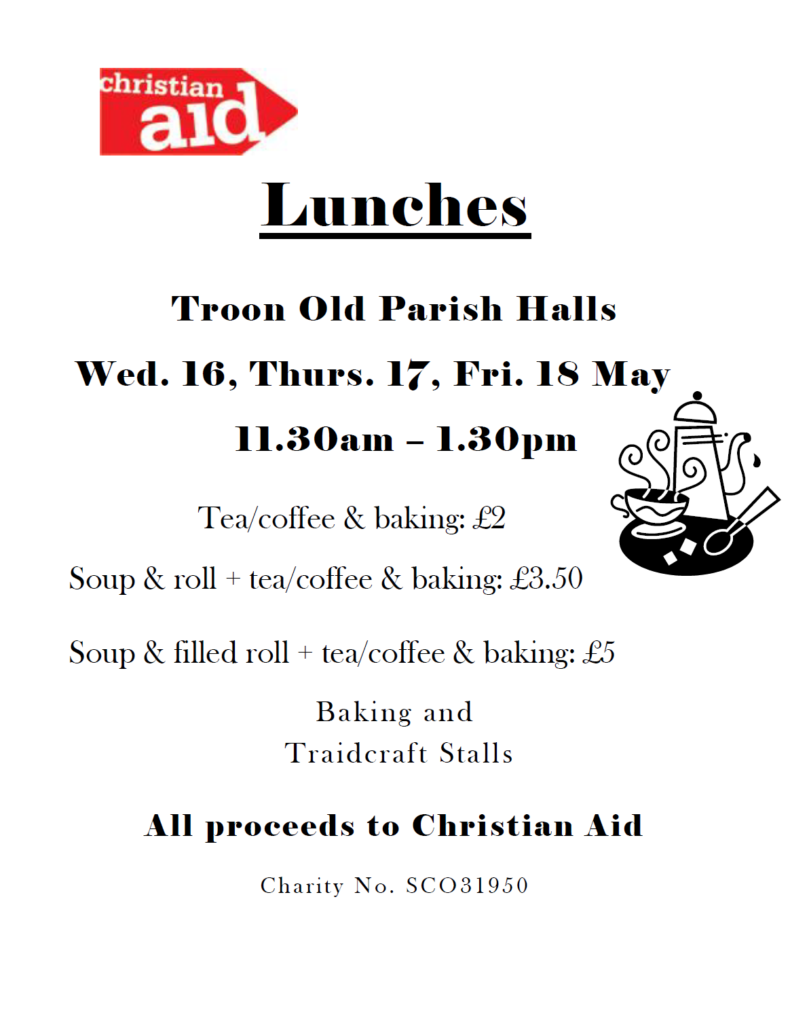 Christian Aid Lunches poster