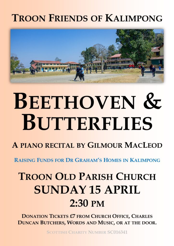 Beethoven & Butterflies piano recital by Gilmour MacLeod, 15 April 2018 poster