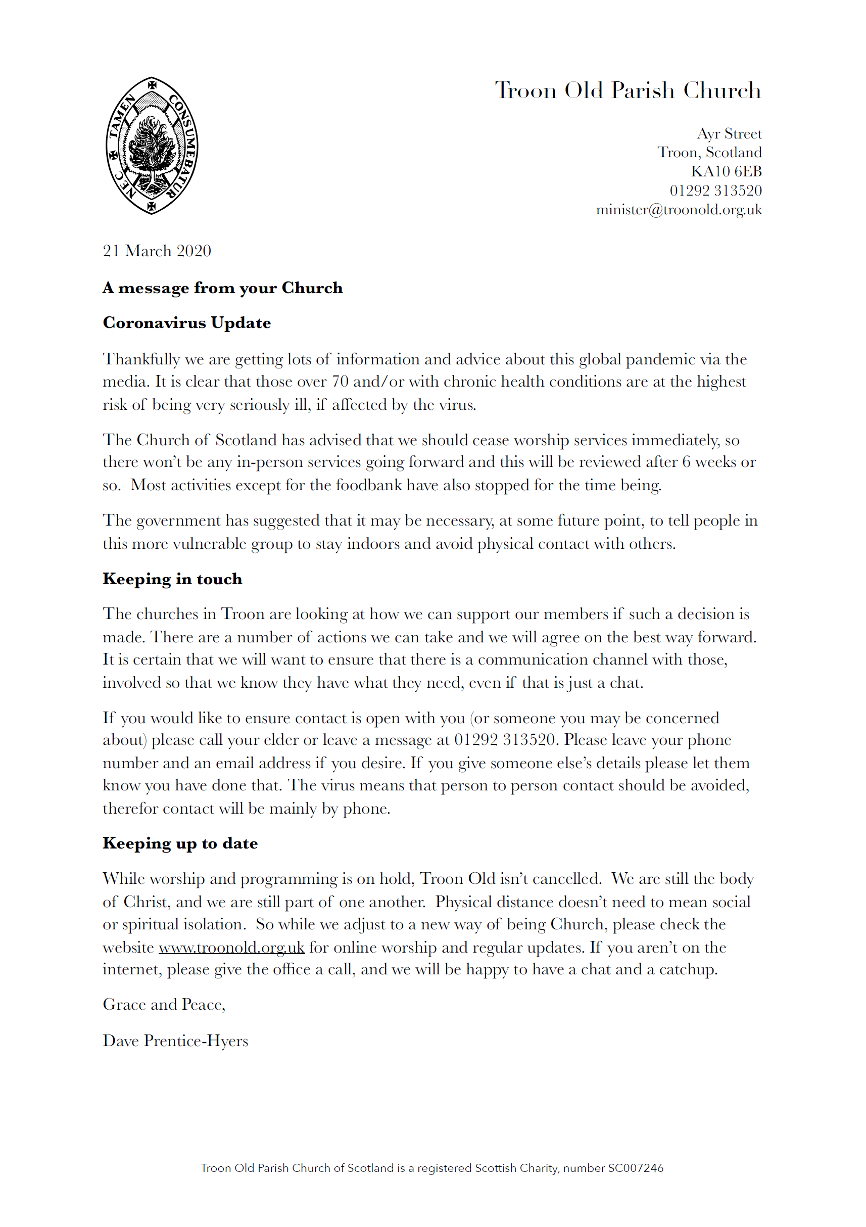 letter to TOPC congregation, 21 March 2020