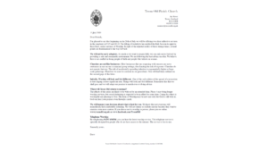 letter to TOPC congregation, 19 July 2020