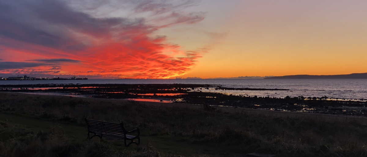 Sunset from Barassie Beach, Troon, 23 December 2020