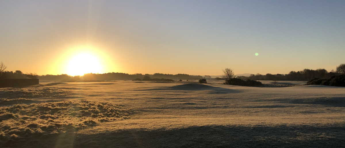 Early morning frost on Lochgreen Golf Course, Troon, 12 January 2021