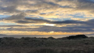 Looking towards Ailsa Craig from the Smugglers' Trail, Troon, 06 February 2021